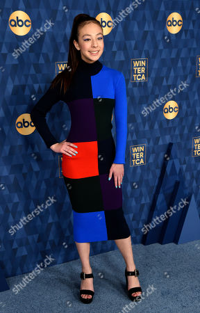 "Aubrey Anderson-Emmons, a cast member in the ABC television series ""Modern Family,"" poses at the 2020 ABC Television Critics Association Winter Press Tour, in Pasadena, Calif"