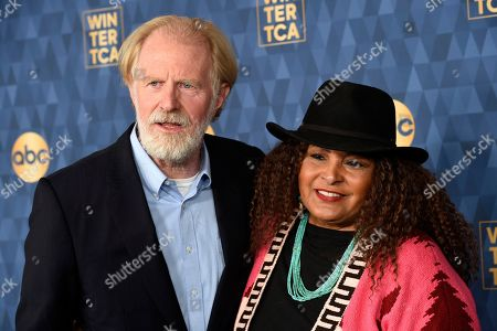 "Pam Grier, Ed Begley Jr. Ed Begley Jr., left, and Pam Grier, cast members in the ABC television series ""Bless This Mess,"" pose at the 2020 ABC Television Critics Association Winter Press Tour, in Pasadena, Calif"
