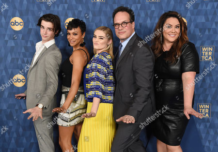 "Daniel DiMaggio, Carly Hughes, Meg Donnelly, Diedrich Bader, Katy Mixon. From left, Daniel DiMaggio, Carly Hughes, Meg Donnelly, Diedrich Bader and Katy Mixon, cast members in the ABC television series ""American Housewife,"" pose together at the 2020 ABC Television Critics Association Winter Press Tour, in Pasadena, Calif"