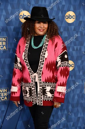 "Pam Grier, a cast member in the ABC television series ""Bless This Mess,"" poses at the 2020 ABC Television Critics Association Winter Press Tour, in Pasadena, Calif"