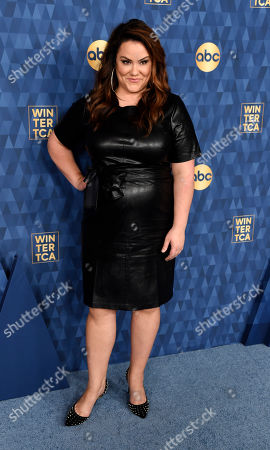 "Katy Mixon, a cast member in the ABC television series ""American Housewife,"" poses at the 2020 ABC Television Critics Association Winter Press Tour, in Pasadena, Calif"