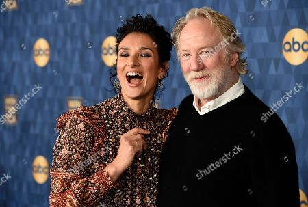 """Indira Varma, Timothy Busfield. Indira Varma, left, and Timothy Busfield, cast members in the ABC television series """"For Life,"""" pose together at the 2020 ABC Television Critics Association Winter Press Tour, in Pasadena, Calif"""