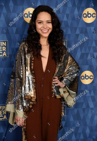 """Alyssa Diaz, a cast member in the ABC television series """"The Rookie,"""" poses at the 2020 ABC Television Critics Association Winter Press Tour, in Pasadena, Calif"""