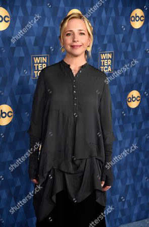 "Stock Picture of Lecy Goranson, a cast member in the ABC television series ""The Conners,"" poses at the 2020 ABC Television Critics Association Winter Press Tour, in Pasadena, Calif"