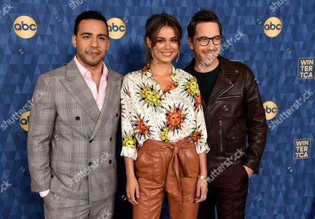 "Nathalie Kelley, Victor Rasuk, Dan Bucatinsky. Victor Rasuk, left, Nathalie Kelley, center, and Dan Bucatinsky, cast members in the ABC television series ""The Baker and the Beauty,"" pose together at the 2020 ABC Television Critics Association Winter Press Tour, in Pasadena, Calif"