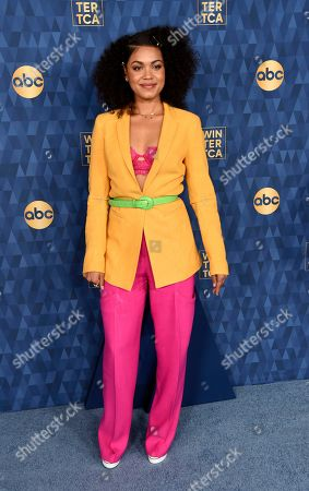 """Barrett Doss, a cast member in the ABC television series """"Station 19,"""" poses at the 2020 ABC Television Critics Association Winter Press Tour, in Pasadena, Calif"""