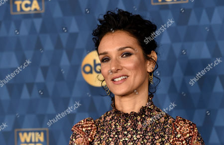 """Indira Varma, a cast member in the ABC television series """"For Life,"""" poses at the 2020 ABC Television Critics Association Winter Press Tour, in Pasadena, Calif"""