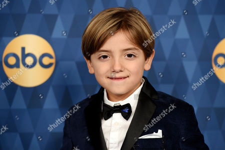 """Jeremy Maguire, a cast member in the ABC series """"Modern Family,"""" poses at the 2020 ABC Television Critics Association Winter Press Tour, in Pasadena, Calif"""