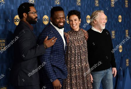 """Nicholas Pinnock, Curtis """"50 Cent"""" Jackson, Indira Varma, Timothy Busfield. From left, Nicholas Pinnock, Curtis """"50 Cent"""" Jackson, Indira Varma and Timothy Busfield, cast members in the ABC television series """"For Life,"""" pose together at the 2020 ABC Television Critics Association Winter Press Tour, in Pasadena, Calif"""