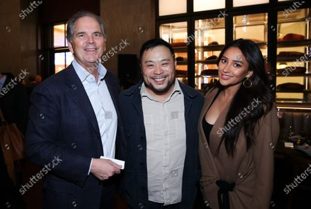 Randy Freer, David Chang and Shay Mitchell attend Hulu and David Chang's dinner to celebrate creativity in streaming TV at Majordomo Meat & Fish in Las Vegas