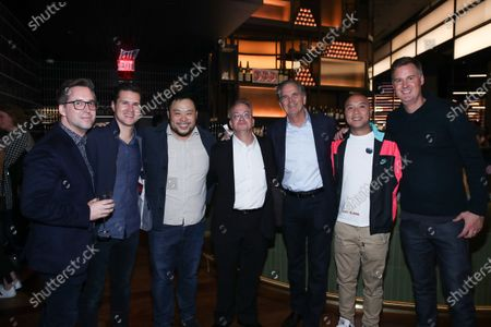Stock Image of Gregory Gittrich, Jeff Giard, David Chang, Todd Spangler, Randy Freer and guests attend Hulu and David Chang's dinner to celebrate creativity in streaming TV at Majordomo Meat & Fish in Las Vegas