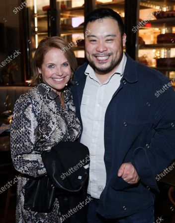 Katie Couric and David Chang attend Hulu and David Chang's dinner to celebrate creativity in streaming TV at Majordomo Meat & Fish in Las Vegas