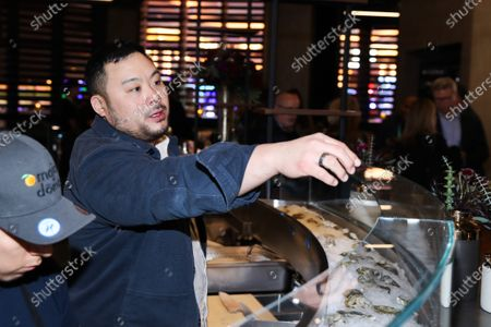 David Chang attends Hulu and David Chang's dinner to celebrate creativity in streaming TV at Majordomo Meat & Fish in Las Vegas