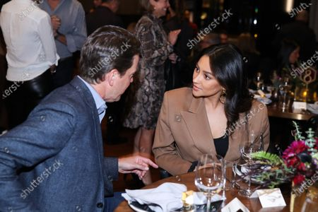 Peter Naylor and Shay Mitchell attend Hulu and David Chang's dinner to celebrate creativity in streaming TV at Majordomo Meat & Fish in Las Vegas
