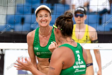 Kerri Walsh Jennings (L) of USA reacts after winning a point during Semifinals against Germany on Day 3