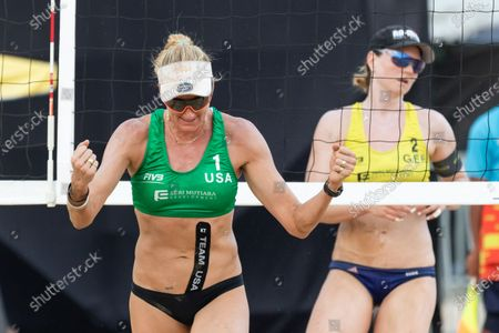 Kerri Walsh Jennings (L) of USA celebrates a point during Semifinals against Germany on Day 3