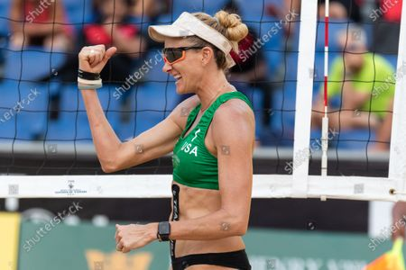 Kerri Walsh Jennings of USA reacts after winning a point during Semifinals against Germany on Day 3