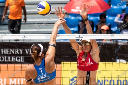 Kerri Walsh Jennings (R) of USA blocks a spike from Barbora Hermannová (L) of Czech Republic during Gold Medal match on Day 4