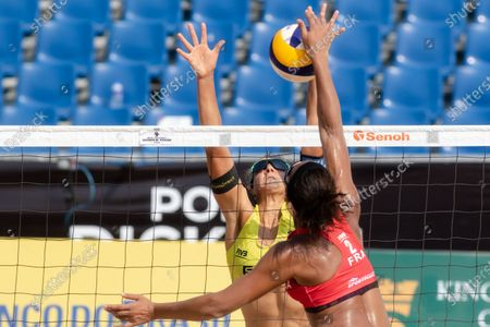 Victoria Bieneck (yellow) of Germany in action against Alexandra Jupiter (red) of France during Round 2 of