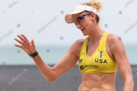 Kerri Walsh Jennings of USA during Main Draw Pool E match against Poland on Day 1