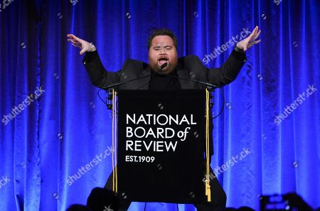 """Paul Walter Hauser accepts the breakthrough performance award for """"Richard Jewell,"""" at the National Board of Review Awards gala at Cipriani 42nd Street, in New York"""