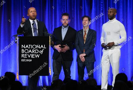"Bryan Stevenson, Asher Goldstein, Tim Blake Nelson, Rob Morgan. Lawyer Bryan Stevenson, left, and producer Asher Goldstein, actors Tim Blake Nelson and Rob Morgan accept the award NBR freedom of expression award for ""Just Mercy,"" at the National Board of Review Awards gala at Cipriani 42nd Street, in New York"