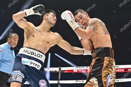 Ryota Murata of Japan (L) and Steven Butler of Canada fight in the 2nd round of their WBA Middleweight title bout