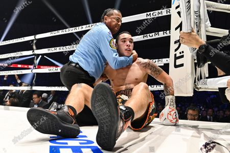 Stock Picture of Steven Butler of Canada with referee Rafael Ramos after being knocking down in the 5th round of their WBA Middleweight title bout against Ryota Murata of Japan