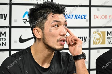 Stock Picture of Ryota Murata of Japan talks with media after knocking out Steven Butler of Canada at the WBA Middleweight title bout