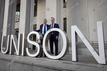 Sir Keir Starmer (R), the frontrunner in the race to become the next Leader of the Labour Party, and General Secretary of UNISON Dave Prentis (L) at the offices of Unison. Unison has backed Keir Starmer as leader and Angela Rayner as deputy leader.