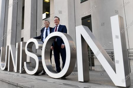 Stock Photo of Dave Prentis, UNISON's general secretary with Keir Starmer as he visits UNISON HQ following the union's decision to back him for leadership of the Labour Party, Euston Road, London.