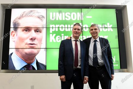 Stock Image of Dave Prentis, UNISON's general secretary with Keir Starmer as he visits UNISON HQ following the union's decision to back him for leadership of the Labour Party, Euston Road, London.