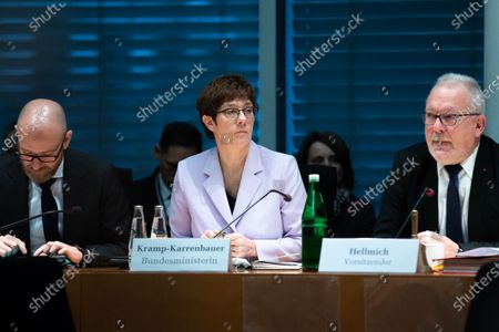 (L-R) Parliamentary State Secretary Peter Tauber, German Minister of Defence Annegret Kramp-Karrenbauer and the chairman of the Defense Committee Wolfgang Hellmich attend a Defense Committee meeting in Berlin, Germany, 09 January 2020. Members of the committee discuss on the federal government report on developments in Iraq and Erbil region.