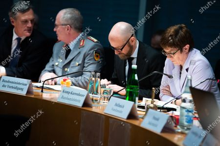 Parliamentary State Secretary Peter Tauber (2-R) and Minister of Defence Annegret Kramp-Karrenbauer (R) attend a Defense Committee meeting in Berlin, Germany, 09 January 2020. Members of the committee discuss on the federal government report on developments in Iraq and Erbil region.
