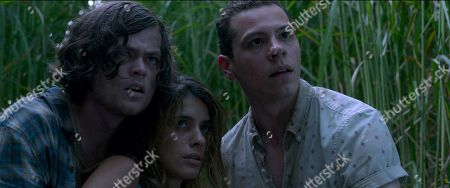 Stock Picture of Harrison Gilbertson as Travis McKean, Laysla De Oliveira as Becky DeMuth and Avery Whitted as Cal DeMuth