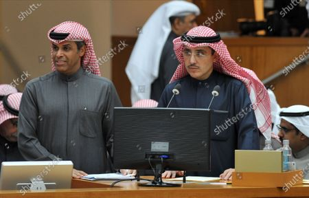 Kuwait's Minister of Foreign Affairs Ahmad Nasser Al-Mohammad Al-Sabah (R) and Minister of Oil and Minister of Electricity and Water Khalid Ali Mohammad Al Fadel (L) during a parliament session at Kuwait's national assembly in Kuwait City, 09 January 2020.