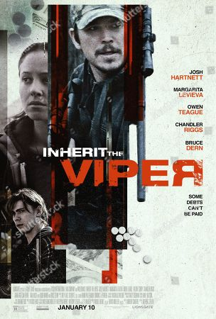Inherit the Viper (2019) Poster Art. Margarita Levieva as Josie Riley, Josh Hartnett as Kip Riley and Chandler Riggs as Cooper