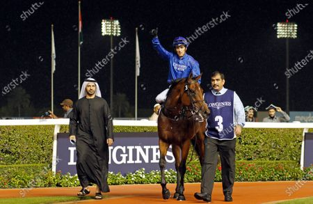 BENBATL (Christophe Soumillon) with Saeed Bin Suroor after The Singspiel Stakes Meydan