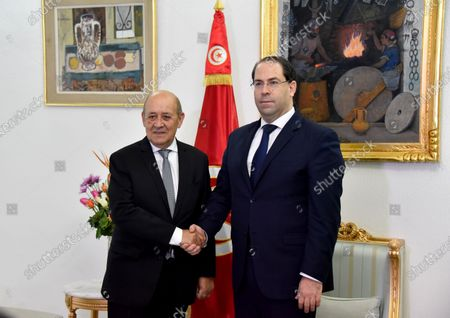 Tunisian Prime Minister Youssef Chahed receives the French Foreign Affairs Minister Jean-Yves Le Drian in Kasba.