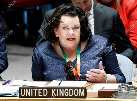 United Kingdom's ambassador to the United Nations Karen Pierce addresses an United Nations Security Council meeting about international peace and security at United Nations headquarters in New York, New York, USA, 09 January 2020.