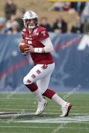 Temple quarterback Anthony Russo looks to pass against against North Carolina during the first half of the Military Bowl NCAA college football game, in Annapolis, Md