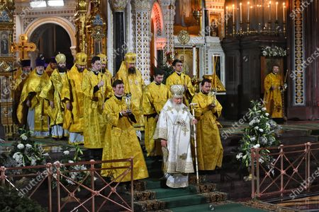 Christmas mass in the Cathedral of Christ the Savior. Patriarch of Moscow and All Russia Kirill (center) serves the Christmas mass