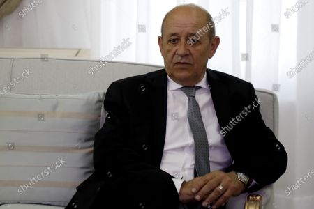French Foreign Minister Jean-Yves Le Drian looks on during his meeting with Tunisian Prime Minister Chahed in Tunis, Tunisia, 09 January 2020.