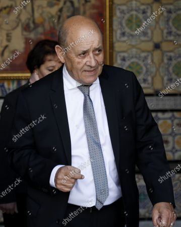 French Foreign Minister Jean-Yves Le Drian arrives to meet with Tunisian Prime Minister Chahed in Tunis, Tunisia, 09 January 2020.