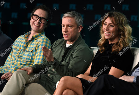 """Martin Freeman, Daisy Haggard, Chris Addison. Martin Freeman, center, a cast member in the the FX series """"Breeders,"""" takes part in a panel discussion on the show with co-creator/executive producer/director Chris Addison, left, and cast member Daisy Haggard at the 2020 FX Networks Television Critics Association Winter Press Tour, in Pasadena, Calif"""