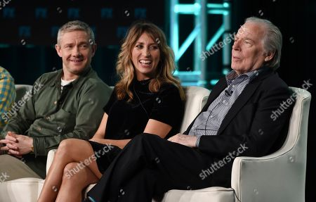"""Michael McKean, Daisy Haggard, Martin Freeman. Michael McKean, right, a guest star in the FX series """"Breeders,"""" takes part in a panel discussion with cast members Martin Freeman, left, and Daisy Haggard at the 2020 FX Networks Television Critics Association Winter Press Tour, in Pasadena, Calif"""