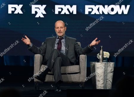 John Landgraf, chairman of FX Networks and FX Productions, addresses reporters at the 2020 FX Networks Television Critics Association Winter Press Tour, in Pasadena, Calif