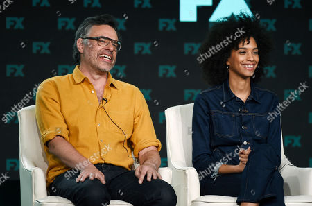 "Jemaine Clement, Stefani Robinson. Jemaine Clement, left, the creator/executive producer/writer/director of the FX series ""What We Do in the Shadows,"" takes part in a panel discussion alongside executive producer/writer Stefani Robinson at the 2020 FX Networks Television Critics Association Winter Press Tour, in Pasadena, Calif"