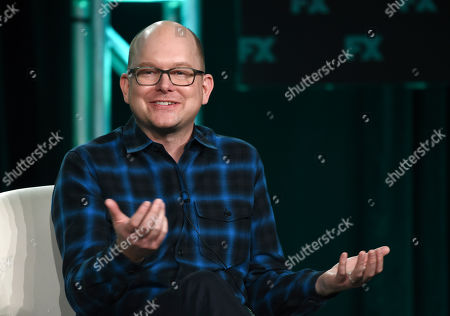 """Mark Proksch, a cast member in the FX series """"What We Do in the Shadows,"""" takes part in a panel discussion on the show at the 2020 FX Networks Television Critics Association Winter Press Tour, in Pasadena, Calif"""
