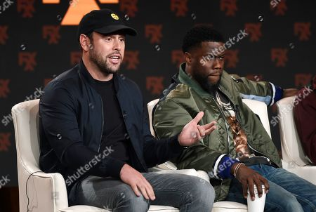 "Scooter Braun, Kevin Hart. Scooter Braun, left, and Kevin Hart, executive producers of the FX comedy series ""Dave,"" take part in a panel discussion on the show at the 2020 FX Networks Television Critics Association Winter Press Tour, in Pasadena, Calif"
